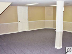 refinished basement wall system in a Milwaukee home