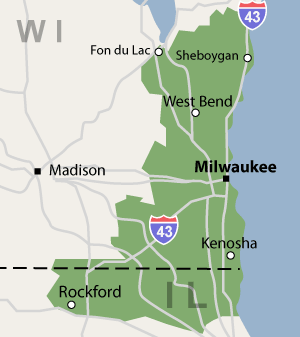 Our Wisconsin & Illinois service area map, showing our services in Milwaukee, WI, Rockford, IL, and nearby